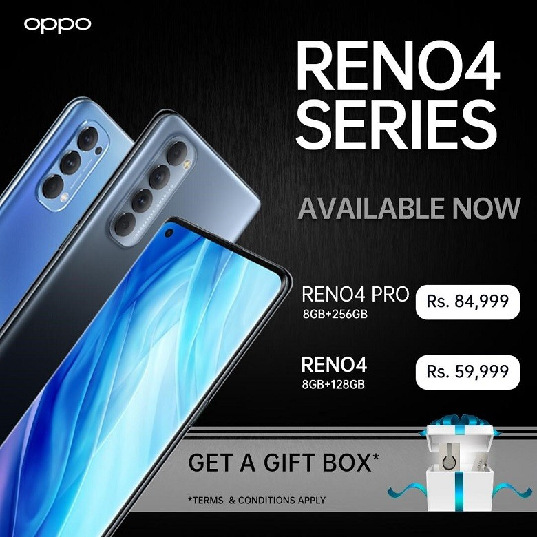 OPPO Reno4 Series - The recently launched OPPO Reno4 series is now available in the Pakistani market and can easily be booked online on OPPO's official website. OPPO Reno4 8GB, and 128GB (Extendable) is available for Rs 59,999 and OPPO Reno4 Pro 8GB of RAM and 256GB is available for Rs 84,999. The Reno4 with its aesthetically trendy and slim design comes with innovative imaging features, AI-enhanced smart sensor, and 30W VOOC 4.0 with Qualcomm SnapDragon 720G SoC allowing people to unlock the best you. The Reno4 Pro comes with a 90Hz borderless sense screen with a 3D curved display, 60W SuperVOOC 2.0, premium thin design, and innovative imaging features allowing users to be a pro is their daily routine. The brand is giving away an amazing gift box to the first few lucky winners to book the Reno4 series online on OPPO's official website. To book online visit: https://www.oppo.com/pk/bookonline/