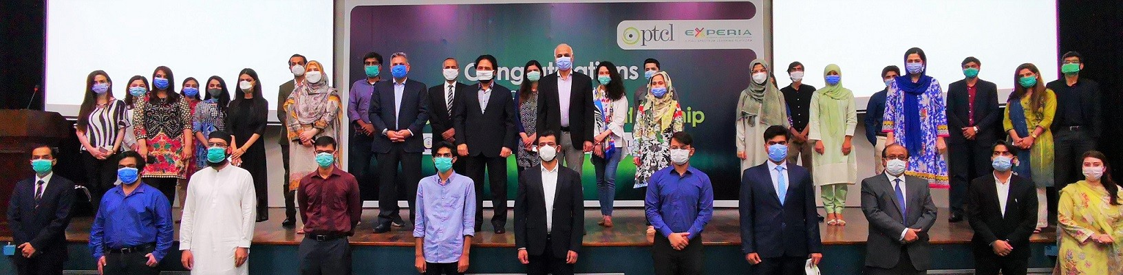 """PTCL internship program Experia 2020 - Pakistan Telecommunication Company Limited (PTCL) successfully concluded its flagship internship program Experia 2020 with a closing ceremony held at the PTCL HQ in Islamabad. Despite the ongoing pandemic, the company engaged with the students virtually and provided them with ample learning opportunities and mentorship. For this flagship program, 25 students from well-renowned universities such as LUMS, IBA Karachi, NUST, FAST and Bahria University were selected out of 1200 students through online Gamified Assessment. On the occasion, Syed Mazhar Hussain, Group Chief Human Resource Officer, PTCL & Ufone, said, """"Our commitment to the youth of Pakistan remains strong as we create ample opportunities of learning and mentoring. Experia is one of the flagship internship program at PTCL, where we nurture and groom the best talent from various universities in Pakistan. We made efforts to ensure that this program continues in its true spirit even in COVID-19 by adding virtual mechanism in place."""" Selected students were given an online orientation of a detailed six-week plan and were assigned to their respective projects and departments. As part of Experia's holistic learning, the interns were provided access to PTCL's internal Learning Management System known as 'LearnX' along with a recommended in-house built program 'Developing Managerial Skills'. They were also given exclusive access to world renowned Digital Learning Platform 'LinkedIn Learning,' which they will continue to access and learn from even after their internship. In a fun and innovative way, the interns were given an opportunity to learn about PTCL's culture, Code of Conduct, CSR initiatives and its Corporate Values. They were also given virtual tours of the Network Operations Center, Telephone Exchange, Smart Shop and Data Centers. The final presentations took place online with the top three students presenting their projects during the closing ceremony. The students we"""