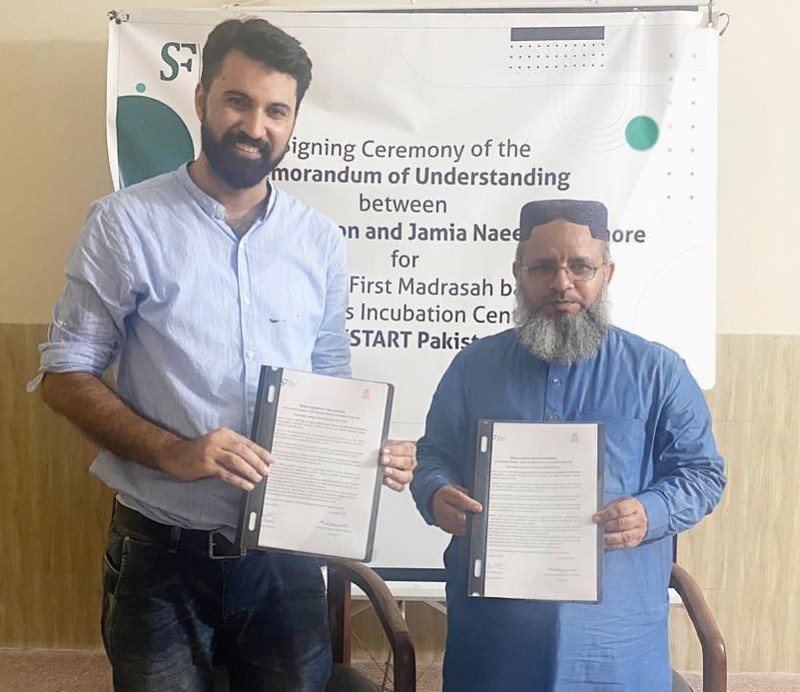 """Madrassa-based Business Incubation Center - Jamia Naeemia in Lahore and Islamabad-based Shaoor Foundation for Education and Awareness (SFEA) signed a memorandum of understanding (MoU) to establish Pakistan's first Madrassa based Business Incubation Center in Lahore.  Pakistan's first ever state of the art madrassa-based Business Incubation Center will be established at an area of 6500 square feet in the new building of Jamia Naeemia in Mughalpura, Lahore.  The purpose of this initiative would be to serve the cause of economic mainstreaming of the madrassa students and graduates and create more socio-economic opportunities for otherwise marginalized populations.  The incubation center shall provide basic entrepreneurial trainings, incubation facility, mentorship and networking opportunities to madrassa students and graduates.   Moreover, it would serve as a knowledge center for peace and civic education along with enhancement of employability and soft skills. """"There have been many discussions about mainstreaming madrassas and their inclusion. In my opinion, preparing students to take entrepreneurial journeys, providing skills to secure jobs and economic opportunities for themselves and others meanwhile inculcating sense of civic and peace education is the best madrassa reform one could think of – and we have taken the first tiny step in the right direction"""", said Syed Ali Hameed who's the executive director of Shaoor Foundation and Islamabad-based serial entrepreneur. """"No young person should be left behind because of his or her social backgrounds, religious affiliation or gender – this incubation center would be inclusive in all domains"""", he further said.   """"Madrassas are meant to impart Islamic education to the students and make them effective part of the society. Providing them economic opportunities would not only empower the young people who do not get opportunities otherwise but also prepare a pool of responsible citizens contributing in country's economy. Young"""