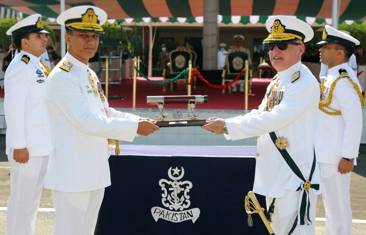 Admiral Muhammad Amjad Khan Niazi has assumed the Charge as the New Naval Chief. The outgoing Naval Chief Admiral Zafar Mahmood Abbasi handed over the Command Scroll to the New Naval Chief at the Change of Command Ceremony at PNS ZAFAR in Islamabad on Wednesday. The New Naval Chief Admiral Amjad Khan Niazi was commissioned in Operations Branch of Pakistan Navy in 1985. He has served on various command and staff posts. Admiral Amjad Khan Niazi is a recipient of Hilal-i-Imtiaz (Military) and Sitara-i-Basalat. In his remark at the Change of Command Ceremony, the outgoing Naval Chief Zafar Mahmood Abbasi said that Admiral Amjad Khan Niazi has a distinguished career and expressed the confidence he will lead Pakistan Navy to new heights. Zafar Mahmood Abbasi said that during his tenure as the Naval Chief, his special emphasis remained on combat readiness and professional competence. While giving a complete overview of the development strategies of Pakistan Navy, the outgoing Naval Chief said these are aligned with the evolving threats and challenges. Zafar Mahmood Abbasi said that a fleet size of 50 plus ships including 20 major ships was envisioned to improve the capabilities of the naval force. The outgoing Naval Chief said that four Chinese Frigates will be inducted in the next few years while four Turkish medium class ships will be inducted between 2023 and 2025. Admiral Zafar Mahmood Abbasi said that Hangor submarine project in collaboration with China is progressing well with four submarines being built in China and four in Pakistan. He said that these submarines will be delivered to Pakistan in the next few years. This project will transform us from a submarine operating Navy to a submarine building Navy, he said. Zafar Mahmood Abbasi said that a major naval base for surface ships is being developed at Gwadar to enhance Pakistan Navy's operational flexibility along our coast.