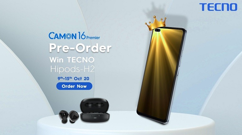 """Camon 16 Premier - The internationally renowned smartphone brand, TECNO, has announced its all new special edition of the Camon series, Camon 16 Premier. The phone is available on Pre-Order at TECNO's official website and AirKart Online shop for only Rs 39,999. This is TECNO's special edition and a limited stock is available for pre-orders. TECNO is offering a pair of TWS headphones worth Rs 3,999 to its pre-order customers for FREE. The new Camon 16 Premier is ready for pre-orders from October 9, 2020 till October 15, 2020. The Photography King, Camon 16 Premier, is a treat for the fans with 64MP Quad Rear Camera, 48MP Dual front Camera, 33W Fast Charging, and Helio G90T processor. Everyone wants to get their hands on the new phone as soon as possible. The phone is available for pre-orders and will be in the offline market after October 15, 2020, but only on TECNO Official dealers. Creek Ma, General Manager of TECNO shared his thoughts; """"Very excited to bring this Camon 16 Premier for our fans. We have a limited stock for our special fans who can easily Pre-order it and enjoy a free wireless headphone set as well. The phone contains high-end flagship features and is available at a very convenient price. We at TECNO are looking forward to this product sale and are hopeful that our fans are going to love it as always."""" Pre-ordering is a trend these days and TECNO has given its customers this facility to get their most demanded phone from TECNO Official web page: https://www.tecno-mobile.com/pk/home/#/ and AirKart Online shop. So what are we waiting for? Pre-Order at AirKart Online shop now!"""