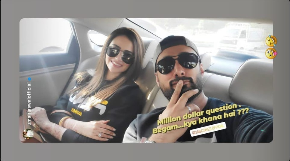 """The newly-wed couple Sana Javed and Umair Jaswal have gone for an outing and they have something important yet interesting to ask. Umair posted an adorable picture with a question while capturing everyone's attention within seconds. We know that right after the couple brought the news of tying the knot officially to Instagram, the fans have been following every activity of these celebs. From the time they posted the first Nikah click to the moments captured by the camera with family, everyone is in love with the new couple. Here we have got the latest post with an interesting question asked by Umair Jaswal. Explore the details! Sana Javed & Umair Jaswal's New Post with Interesting Question! Umair Jaswal posted a selfie with her beautiful wife Sana Javed as they were heading to any restaurant to have some food. Check out this click! Umair asked, """"Million dollar question. Begam...kya khana hai???"""" It seems that the couple was indecisive about what to eat. So, while thinking about the answer to this """"million-dollar question"""", they thought of capturing the moment in cam. Here is how the newly-wed bride Sana Javed looks like during outing with her husband! And Then We Had The Response - Check Out Sana Javed's Post! The next pictures posted by Sana Javed revealed the answer to this important question. Moreover, she captured her husband in cam and tagged him with the words, """"My best friend @umairjaswalofficial."""" Here is the hot frothy cup of coffee and some sweet delicacy topped with almonds. It is definitely something perfect to enjoy romantic weather. And... here is Sana's best friend forever! The couple is roaming around the capital city these days and we are looking forward to their more to come to wedding events. How much you liked these clicks of Sana Javed and Umair Jaswal? Don't forget to share your feedback!"""