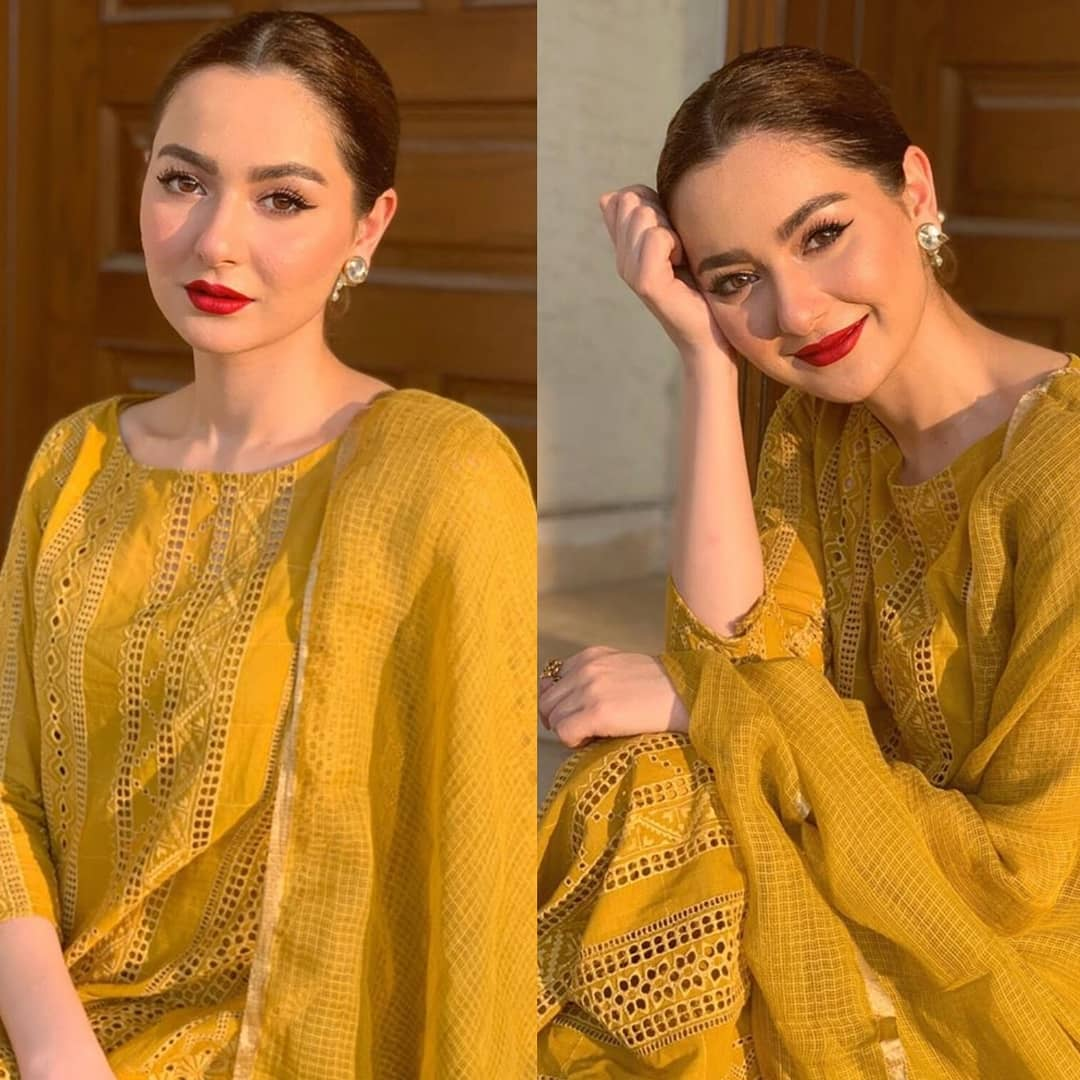 Hania Amir is the innocent beauty in the industry who looks gorgeous in whatever she wears. Whether she goes for an eastern look or that of western, Hania is an epitome of beauty with her captivating smile on the face. Well... fans have got a special corner for Hania Amir in heart and they always keep on looking for something interesting about her. From her dramas to her ads and then mesmerizing photoshoots to fun jam sessions, fans are all in love with Hania. Here we have got some amazing pictures of the times when Hania Amir slew her fans in eastern looks. Hania Amir Slaying Fans in Eastern Looks! Have a look at these five moments when Hania actually slew her fans with the most beautiful eastern looks. Hania Amir in Mustard Eastern Elegance! This picture is from Eid in 2019 when Hania dressed up in a perfect mustard eastern wear. Her lipstick and hairdo have added up to the elegance of her personality. Hania Amir in Angrakha! Simple yet gorgeous! Hania is looking enchantingly beautiful in this dull hued angrakha and fitted layered arms. Her makeover is perfect to match with this traditional wear! Hania in Hot Mauve Saree! Check out Hania Amir looking jaw-dropping gorgeous in hot mauve saree with a backless blouse. Hania in Multi-colour Fancy Lehenga! Hania has always made sure to make a difference while exhibiting her style statement. She has dressed up in multi-colour fancy lehenga and we can't resist giving love to this look. Hania Amir in Simple Black Dress! Though Hania has opted to wear the simplest dress here, however, black has its own grace and it grabs attention in the first glance. This delicate black attire that Hania is wearing makes us sure to keep a black dress must in the wardrobe. Take a look! So, what do you think about these mesmerizing eastern looks of Hania Amir? We would be looking forward to your valuable feedback.
