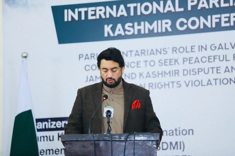 """Shehryar Afridi - The Chairman of the Parliamentary Committee on Kashmir Shehryar Khan Afridi on Wednesday urged for a more proactive role of the parliamentarians of the world in raising voices for Kashmir cause and to make India accountable for its crimes against humanity in Indian Illegally Occupied Jammu and Kashmir (IIOJK). Addressing the participants at the Parliamentary Kashmir Conference held at the Institute of Regional Studies in Islamabad, Shehryar Afridi said that the implementation of UNSC Resolutions on Kashmir is a collective responsibility of all the member states of the United Nations Security Council. """"There is growing momentum among international Parliamentarians worldwide to work together to galvanize world conscience to halt India's aggression and make it accountable for its atrocities against Kashmiris in IIOJK,"""" he said. The Chairman Parliamentary Committee on Kashmir gave these remarks on the celebration of 72nd anniversary of the Universal Declaration of Human Rights. Shehryar Afridi said that the political leaders and legislators in several countries, including the US, Canada and Europe including the Chairperson of the European Parliament have also expressed their concerns on IIOJK. """"Pakistan is committed for peaceful resolution of Jammu and Kashmir dispute under Prime Minister of Pakistan's emphatic narrative set in the UNGA Sessions through a full spectrum of Parliamentary and diplomatic outreach, engagement with media, think-tanks, academia, intelligentsia and civil society,"""" he said. While advocating for the right of self-determination to People of IIOJK, Shehryar Afridi said that Indian Occupation Forces cannot strip off the right of Kashmiri people to determine its own destiny as enshrined in UNSC resolutions under the auspices of UN. Afridi said that Kashmiris' struggle for self-determination has gained a new impetus recently under Modi's regime.  """"India has lost currency on its narrative of foreign involvement in Kashmir. He said tha"""