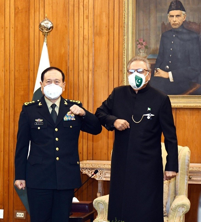 Pakistan's foreign policy - Pakistan and China have reiterated their resolve to further consolidate their friendship for the mutual benefit of the two Countries. In a meeting with the Chinese Minister of National Defence General Wei Fenghe at the Aiwan-e-Sadr in Islamabad on Tuesday, President Dr Arif Alvi welcomed him and said that Pakistan's friendship with China is the cornerstone of its foreign policy. The president said that Pakistan wants to further improve and cement its ties with China so as to address the security challenges being faced by the region. President Arif Alvi informed the delegation that Pakistan and China are greats friends and Pakistan strongly adhere to One-China Policy and support China on issues of Taiwan, Tibet, Xinjiang, and South China Sea. Dr. Arif Alvi expressed concern over the Indian hegemonic designs that pose a threat to regional peace and stability. The president also highlighted India's state-sponsorship of terrorism against Pakistan. President Dr. Arif Alvi appreciated the economic progress made by China as well as measures taken by the Chinese government in containing the COVID-19 pandemic. Arif Alvi also lauded the steadfast Chinese support to Pakistan on the Jammu & Kashmir dispute including at International for a. Meanwhile, President Dr. Arif Alvi conferred Nishan-e-Imtiaz (Military) on General Wei Fenghe in recognition of his services for further promoting and strengthen defense cooperation between Pakistan and China.