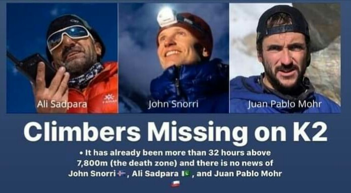 K-2 Updates: Third-day rescue operation launches to find missing climbers Ali Sadpara, Snorri, Mohr