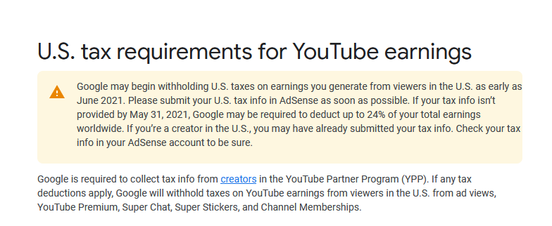 YouTube to Deduct Taxes from creators outside of the US