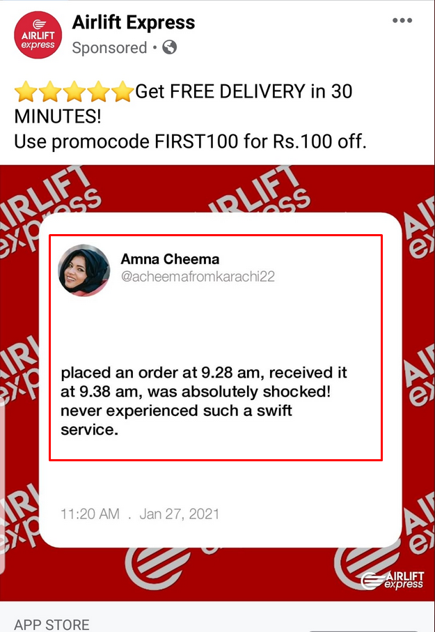 Airlift running fake ads on Facebook?
