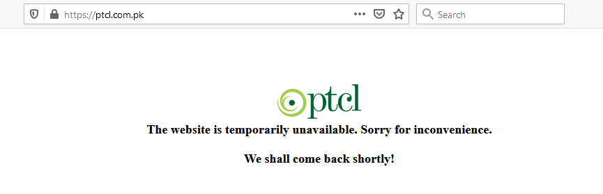 PTCL website down for over an hour!!