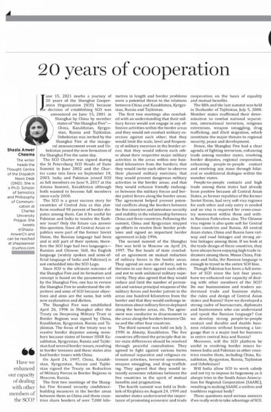 20 years of the Shanghai Cooperation Organization
