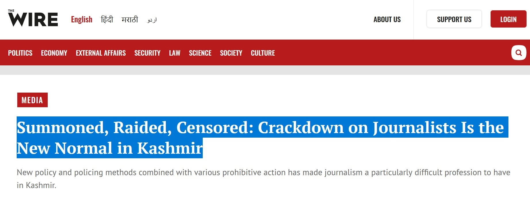 Journalists in Indian Occupied Kashmir are Summoned, Raided, Censored and subjugated, says report published in India media