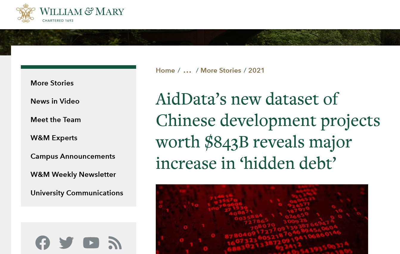 China supports 13,427 projects across 165 countries worth $843 billion indicates AidData Report